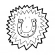 Super lucky horseshoe cartoon — Imagen vectorial