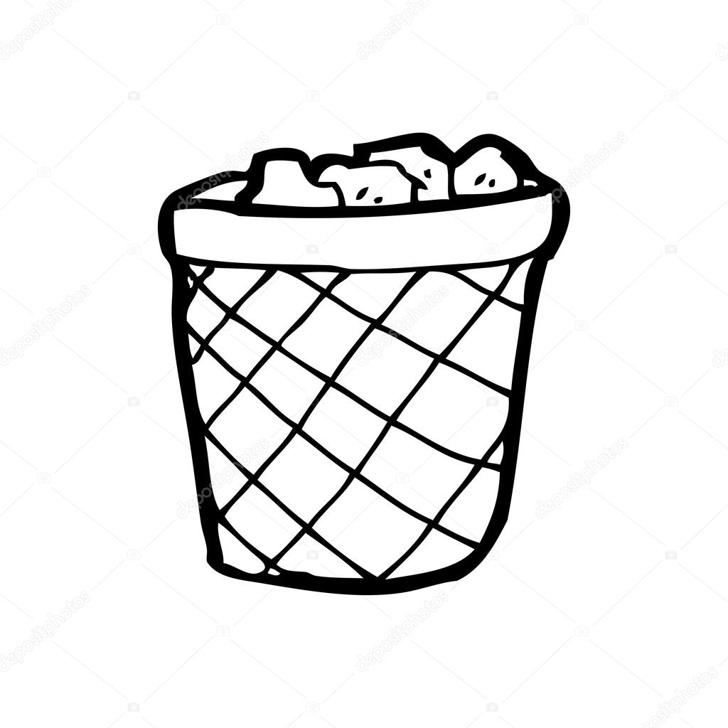 Waste paper basket cartoon — Stock Vector © lineartestpilot #20071727