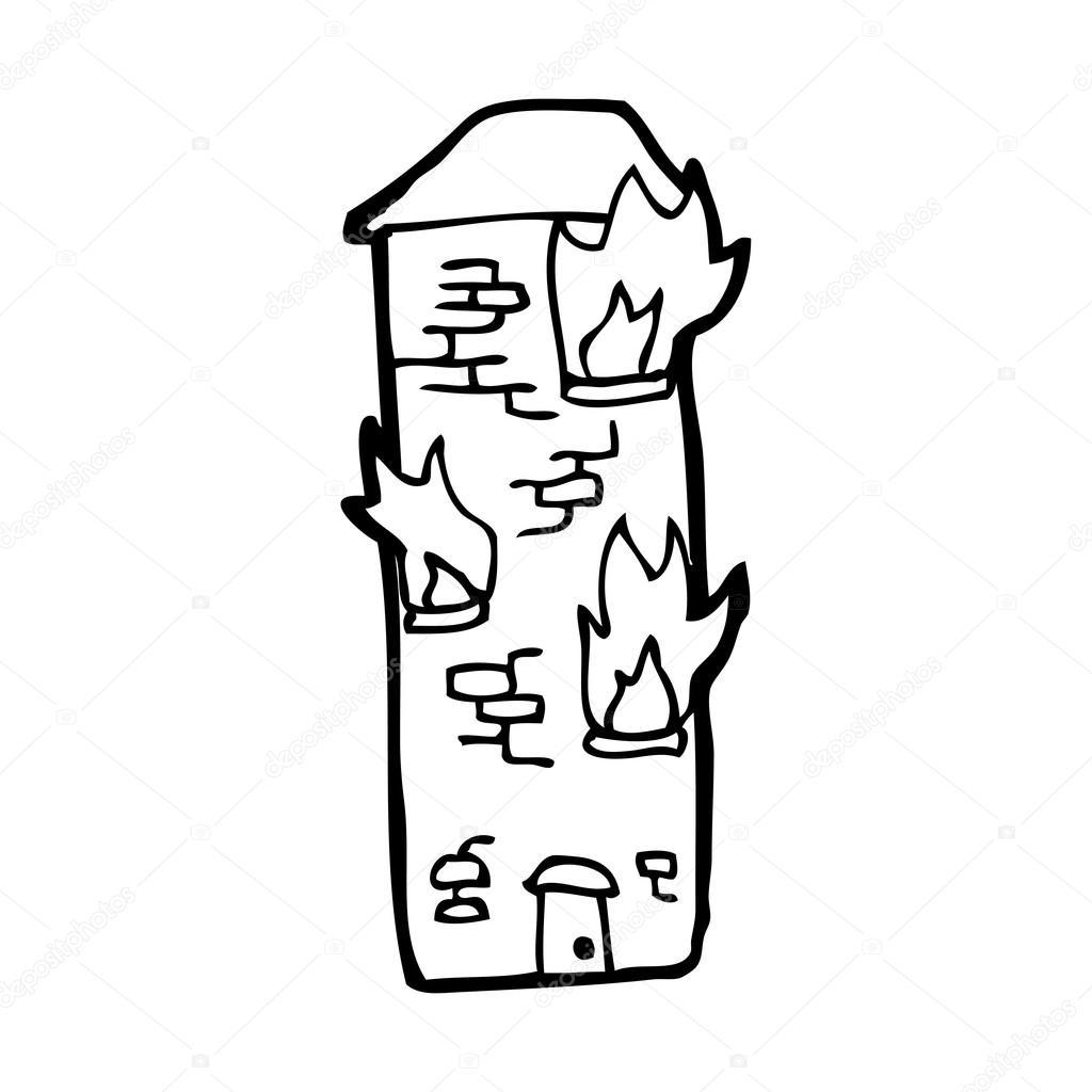 Burning Building Drawing Burning Building Cartoon