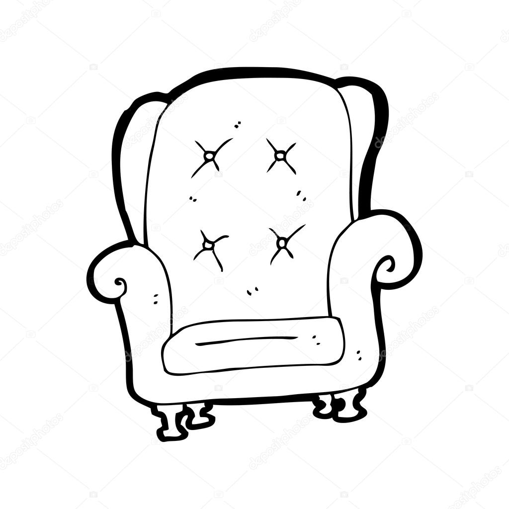 Black and white chair drawing - Old Leather Chair Cartoon Stock Vector Lineartestpilot