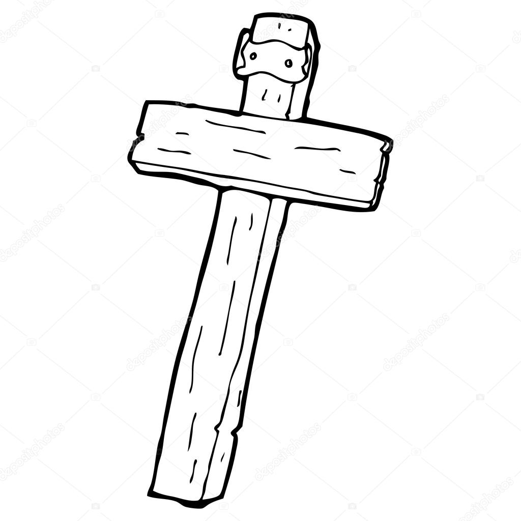Cross Cartoon Drawing Vector Wooden Cross Cartoon