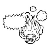 Fiery stressed emoticon face — Stockvector