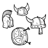 Helmets and shield collection — Stock Vector