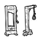 Guillotine and hangman's noose — Stock Vector