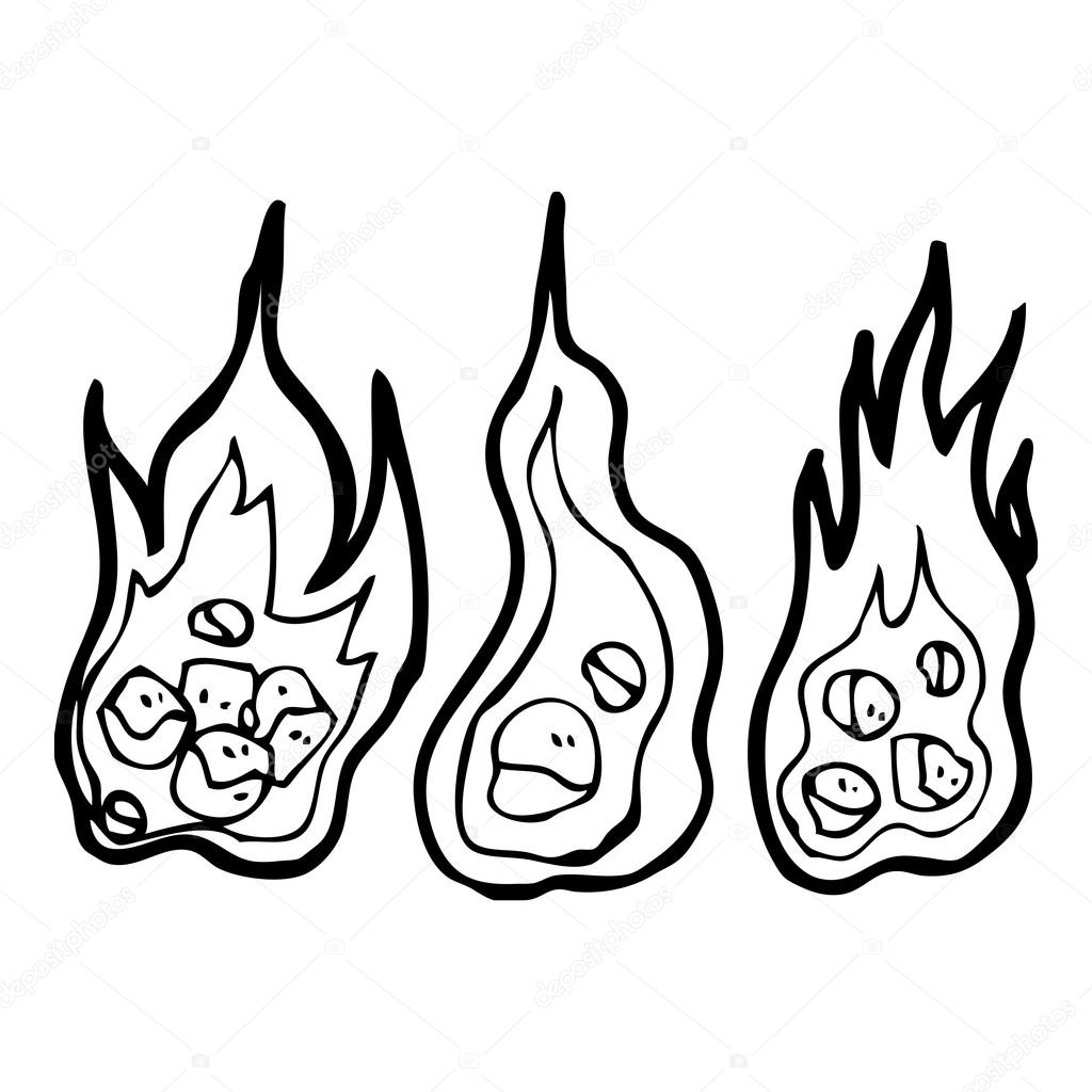 Coal Cartoon Drawing Vector Burning Coals Cartoon
