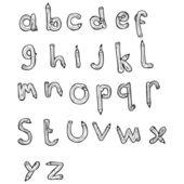 Lápiz en forma de las letras del alfabeto — Vector de stock