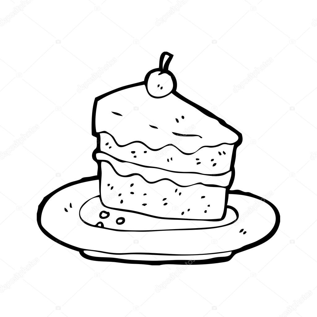 Slice of cake on plate   Stock Vector ? lineartestpilot ...
