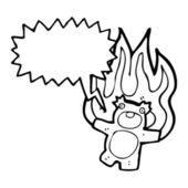 Brennen Teddybär mit Sprechblase — Stockvektor