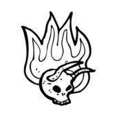 Crânio flamejante do diabo — Vetorial Stock