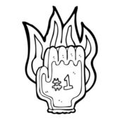Burning number 1 sports fan glove — Stock Vector