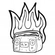 Royalty-Free Stock Vector Image: Retro burning radio