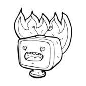 Flaming television — Stock Vector