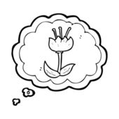Tulip flower pictogram in thought bubble — Stock Vector