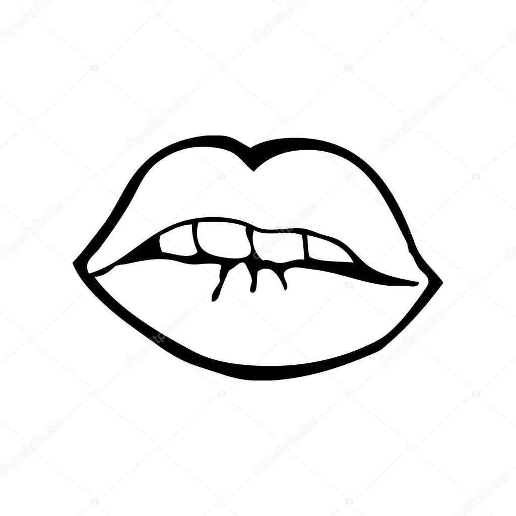 嘴唇亲亲简笔画