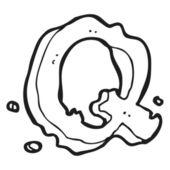 Kreskówka list q — Wektor stockowy