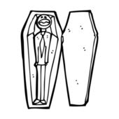 Cartoon corpse in coffin — Stock Vector