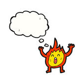 Shouting little fire spirit — Stock Vector