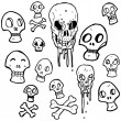 Lots of skull drawings — Stock Vector