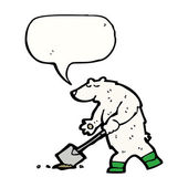 Funny polar bear digging — Stock Vector