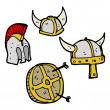 Viking helmets — Stock Vector