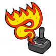 Stock Vector: Flaming joystick