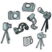 Collection de matériel caméra photographie — Vecteur