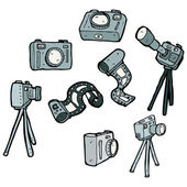 Photography camera equipment collection — Stock Vector