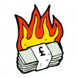 Burning stack of money - Stock Vector