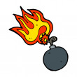 Stock Vector: Bomb with burning fuse
