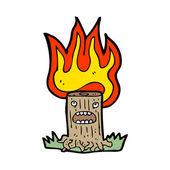 Burning tree stump — Stock Vector