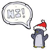 Cute christmas penguin saying hi — Stock Vector