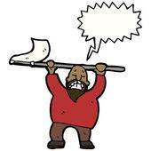 Angry man waving flag and shouting — Stock Vector