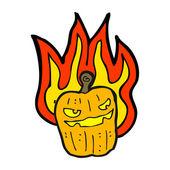 Flaming halloween pumpkin — Stock Vector