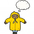 Stock Vector: Person in raincoat