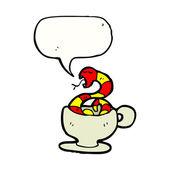 Serpiente en una taza de té — Vector de stock