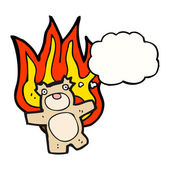 Teddy bear on fire — Stock Vector