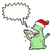 Drunk christmas party frog — Stock Vector