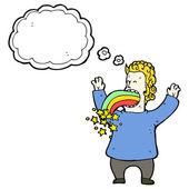 Man vomiting rainbow — Stock Vector