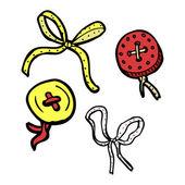 Collection de boutons et rubans — Vecteur