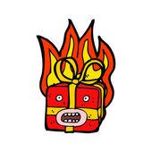 Presente de Natal em chamas — Vetor de Stock