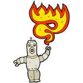 Robot shooting fire — Stock Vector