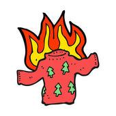 Burning xmas jumper — Stock Vector