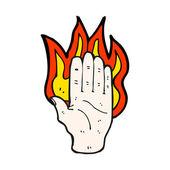 Burning hand symbol — Stock Vector