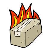 Burning box — Stock Vector