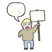 Manifestante político con signo — Vector de stock