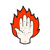 Flaming hand sign — Stock Vector