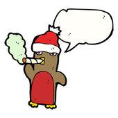 Funny christmas robin smoking — Stock Vector