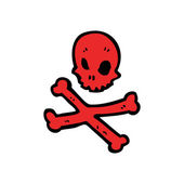 Red skull and crossbones — Stockvector