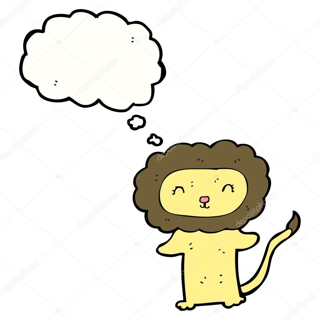 在白色背景上的可爱卡通狮子简笔画