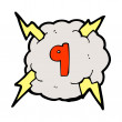 Lightning cloud with number nine - Stock Vector